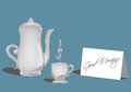 Coffee or tea set and greating card vector illustration of greeting Stock Photos
