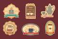 Coffee and tea stickers with symbols of in retrostyle Stock Photography