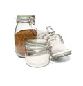 Coffee tea and sugar in glass preserve jars collection Royalty Free Stock Photography