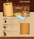 Coffee theme for web site on grunge background vector with illustrations Royalty Free Stock Images