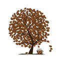 Coffee time art tree for your design this is file of eps format Royalty Free Stock Photos