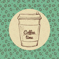 Coffee time banner, roasted beans background hand drawn