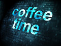 Coffee time on digital background concept pixelated words d render Royalty Free Stock Photography