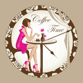Coffee time girl a fashionable young woman in pink outfit sitting at a table inside a round clock background Royalty Free Stock Photos