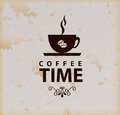 Coffee time over vintage background vector illustration Royalty Free Stock Image
