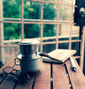 Coffee time, relax moment in rainy day Royalty Free Stock Photo