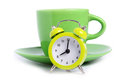 Coffee time small alarmclock and cup of coffe as concept for coffe Royalty Free Stock Images