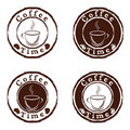 Coffee time stamps set Royalty Free Stock Photo