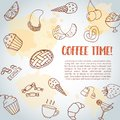 Coffee time text background. Sweet pastry, cupcakes, dessert poster with chocolate cake, sweets. Ice Cream Hand drawn