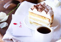 Coffee and tiramisu on the tray Royalty Free Stock Photo