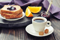 Coffee and toast breakfast with fruit jam on tray Royalty Free Stock Photography
