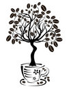 Coffee tree in a cup, vector Royalty Free Stock Photography