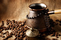 Coffee turk still life on a sackcloth background Stock Photo