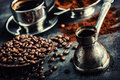 Coffee. Turkish coffee. Armenian Turkish coffee. Cezve and cup of coffee. Traditional serving coffee Royalty Free Stock Photo