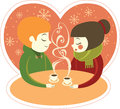 Coffee for two couple enjoying hot in winter cafe Stock Image