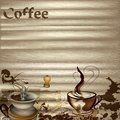Coffee vector background with wooden texture hand drawn cups signatures and hearts for design Stock Image