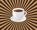Coffee vector illustration of a cup of with sunburst background Royalty Free Stock Image