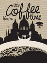 Coffee venice vector picture with cup on the background of Stock Photography