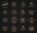 Coffee vintage logos set. Freshly brewed caffeine dark drink logotype. Premium goods latte and espresso business retro