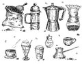 Coffee ware is hand drawn and live traced fills and outlines are separate groups colors can be changed easily Royalty Free Stock Photos