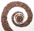 Coffee whirl symbol made with beans Stock Photos