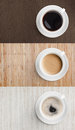 Coffee on wooden table top view set Stock Photos