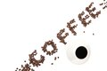 Coffee word arranged diagonally with coffee cup on white Royalty Free Stock Photo