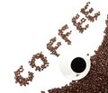 Coffee word arranged diagonally with coffee cup on white isolated Royalty Free Stock Photography