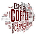 Coffee words concept tag cloud white background Stock Photography