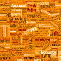 Coffee Words Seamless Background Tags Royalty Free Stock Photo
