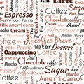 Coffee words, tags. Seamless pattern Royalty Free Stock Photo