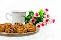 Coffeebreak coffee or tea and almond cookkies for break Royalty Free Stock Images