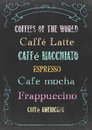 Coffees of the world chalkboard with hand drawn in chalks Stock Photos