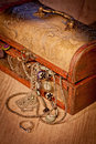 Coffer with jewels Royalty Free Stock Photo
