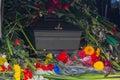 Coffin flowers and ukrainian symbols kiev ukraine Royalty Free Stock Photography
