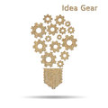 Cog idea light bulb burlap symbol isolated on white Royalty Free Stock Photos