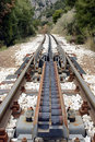 Cog traction transition system at diakofto kalavryta railway of abt in greece Stock Photos