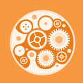 Cog wheel mechanical detail part sketch flat vector illustration Royalty Free Stock Image