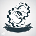 Cog wheels merged, gears with a decorative curvy ribbon. Royalty Free Stock Photo