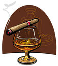 Cognac and cigar Stock Image