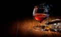 Cognac and cigar Royalty Free Stock Photo