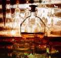 Cognac, glass, cigarette Stock Image