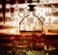 Cognac, glass, cigarette Royalty Free Stock Photo