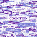 Cognition background concept wordcloud illustration print concept word cloud graphic collage Stock Image