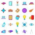 Cognizance icons set, cartoon style