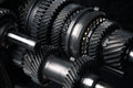 Cogs and gears automotive transmission gearbox Stock Photos