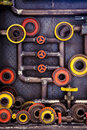 Cogs and pipes old wheel gear with steam background Stock Photography