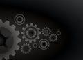 Cogs wheels black color background vector design.