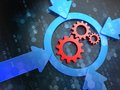 Cogwheel gear icon on digital background mechanism inside the target business concept Royalty Free Stock Images