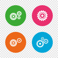 Cogwheel gear icons. Mechanism symbol.